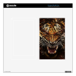 Angry Tiger Breaking Glass Yelow Kindle Fire Skin