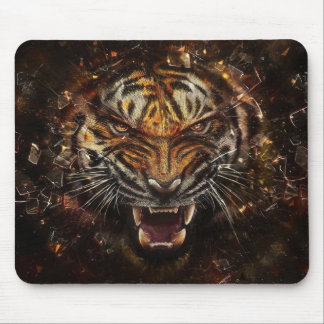 Angry Tiger Breaking Glass Yelow Mouse Pad