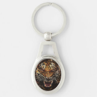 Angry Tiger Breaking Glass Yelow Silver-Colored Oval Metal Keychain