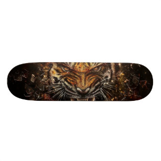 Angry Tiger Breaking Glass Yelow Skateboard