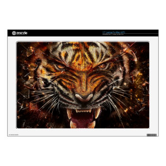 """Angry Tiger Breaking Glass Yelow 17"""" Laptop Decals"""
