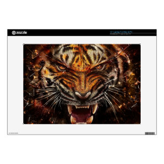 """Angry Tiger Breaking Glass Yelow 15"""" Laptop Decal"""