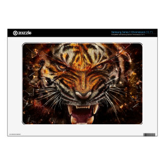Angry Tiger Breaking Glass Yelow Samsung Chromebook Skins