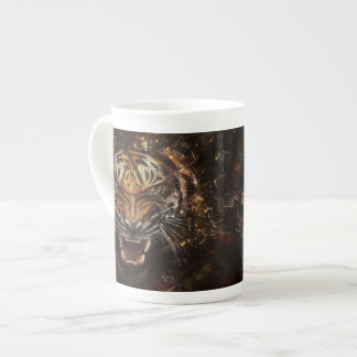 Angry Tiger Breaking Glass Yelow Tea Cup