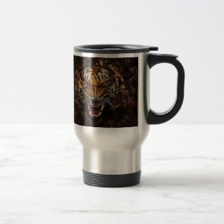 Angry Tiger Breaking Glass Yelow Travel Mug