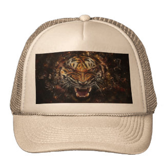 Angry Tiger Breaking Glass Yelow Trucker Hat