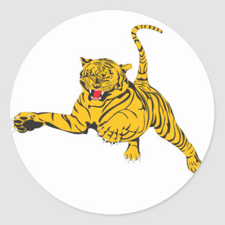 Angry Tiger Classic Round Sticker