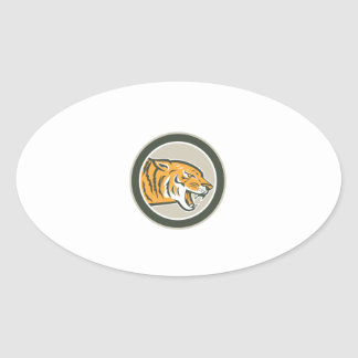 Angry Tiger Head Growling Side Circle Retro Oval Stickers