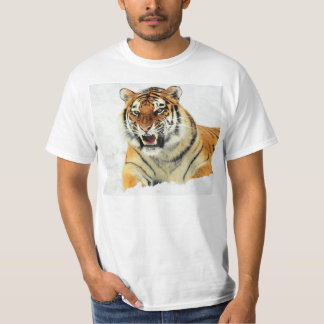 Angry tiger lying in snow T-Shirt