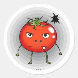 Angry tomato classic round sticker