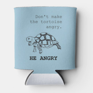 Angry Tortoise black ink drawing Can Cooler
