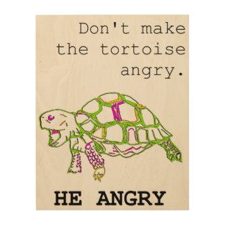 Angry Tortoise Wood Wall Art