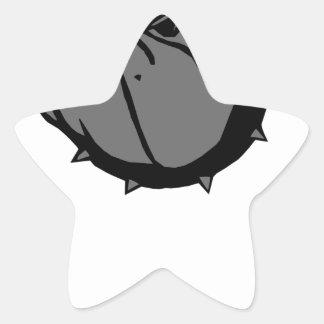 angry tough black bullgog star sticker