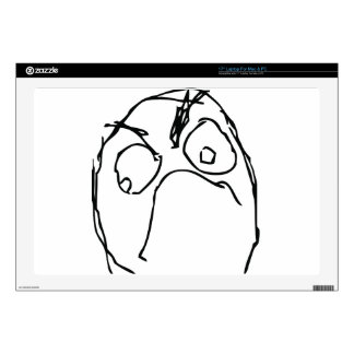 """Angry Unhappy Meme Face 17"""" Laptop Decal"""