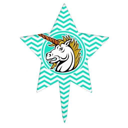 Angry Unicorn; Aqua Green Chevron Cake Topper