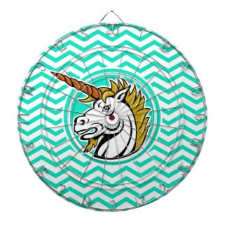 Angry Unicorn; Aqua Green Chevron Dartboard With Darts