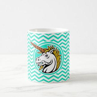 Angry Unicorn; Aqua Green Chevron Classic White Coffee Mug