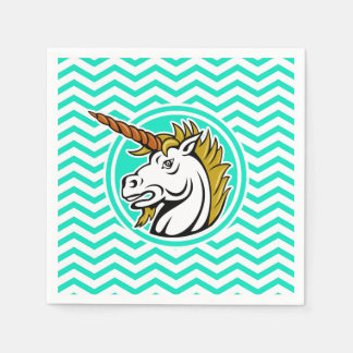 Angry Unicorn; Aqua Green Chevron Napkin