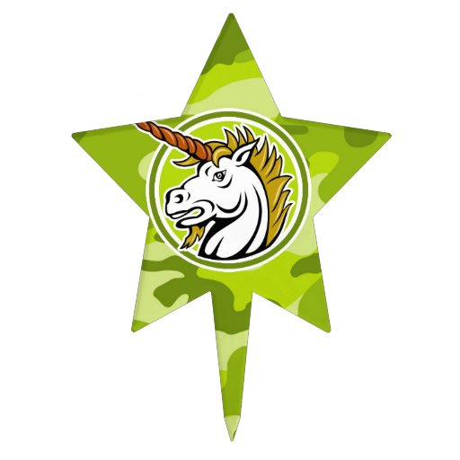 Angry Unicorn; bright green camo, camouflage Cake Pick