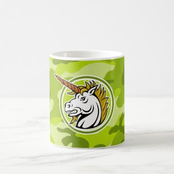 Angry Unicorn; Bright Green Camo  Camouflage Coffee Mug by doozydoodles at Zazzle
