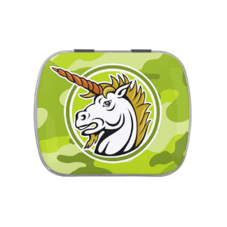 Angry Unicorn; bright green camo, camouflage Jelly Belly Candy Tins
