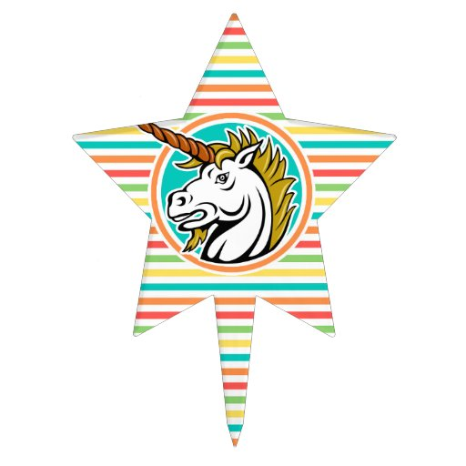 Angry Unicorn, Bright Rainbow Stripes Cake Toppers