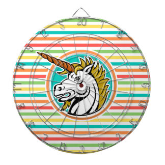 Angry Unicorn, Bright Rainbow Stripes Dartboards