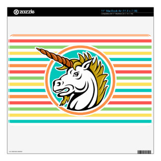 Angry Unicorn, Bright Rainbow Stripes Decals For The MacBook