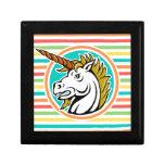 Angry Unicorn, Bright Rainbow Stripes Keepsake Box