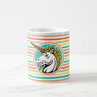 Angry Unicorn, Bright Rainbow Stripes Classic White Coffee Mug