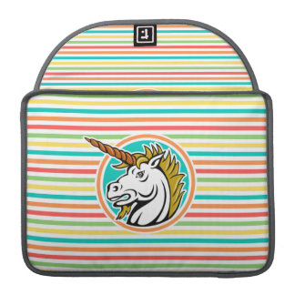 Angry Unicorn, Bright Rainbow Stripes Sleeve For MacBooks