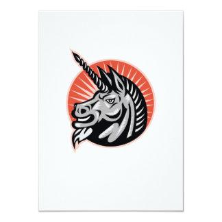 Angry Unicorn Head Retro Woodcut 4.5x6.25 Paper Invitation Card