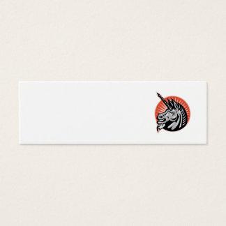 Angry Unicorn Head Retro Woodcut Mini Business Card