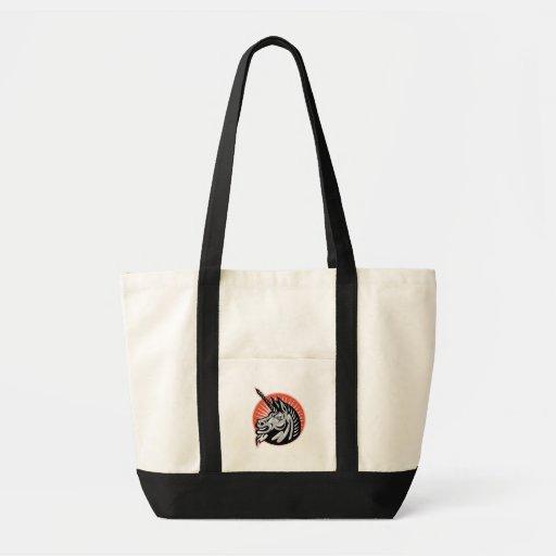 Angry Unicorn Head Retro Woodcut Tote Bags