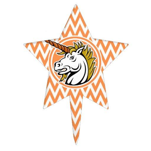 Angry Unicorn; Orange and White Chevron Stripes Cake Topper