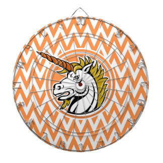 Angry Unicorn; Orange and White Chevron Stripes Dart Boards