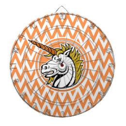 Angry Unicorn; Orange and White Chevron Stripes Dartboard