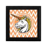 Angry Unicorn; Orange and White Chevron Stripes Trinket Boxes
