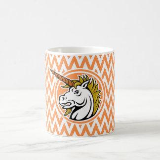 Angry Unicorn; Orange and White Chevron Stripes Classic White Coffee Mug