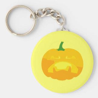 Angry Upset Jack-O-'Lantern Basic Round Button Keychain