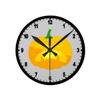 Angry Upset Jack-O-'Lantern Round Clock