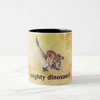 Angry Velociraptor Two-Tone Coffee Mug