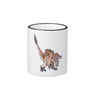 Angry Velociraptor Ringer Coffee Mug