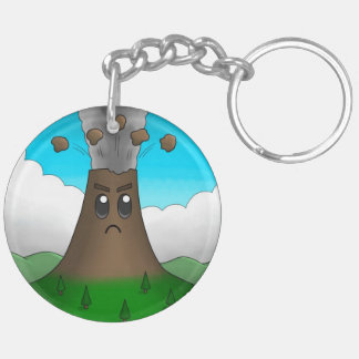Angry Volcano Double-Sided Round Acrylic Keychain