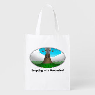 Angry Volcano- Erupting with Groceries! (1-Sided) Reusable Grocery Bag