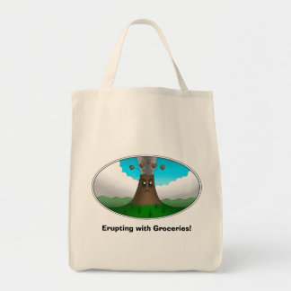 Angry Volcano- Erupting with Groceries! Grocery Tote Bag