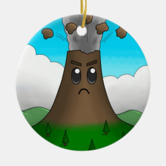 Angry Volcano (One-Sided) Ceramic Ornament