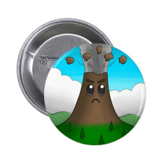 Angry Volcano Pinback Button