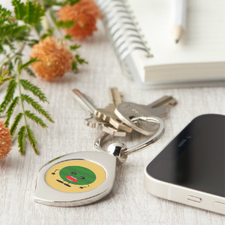 Angry Watermelon Silver-Colored Swirl Keychain