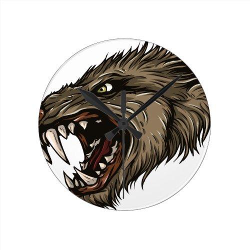 Angry Werewolf Round Clock